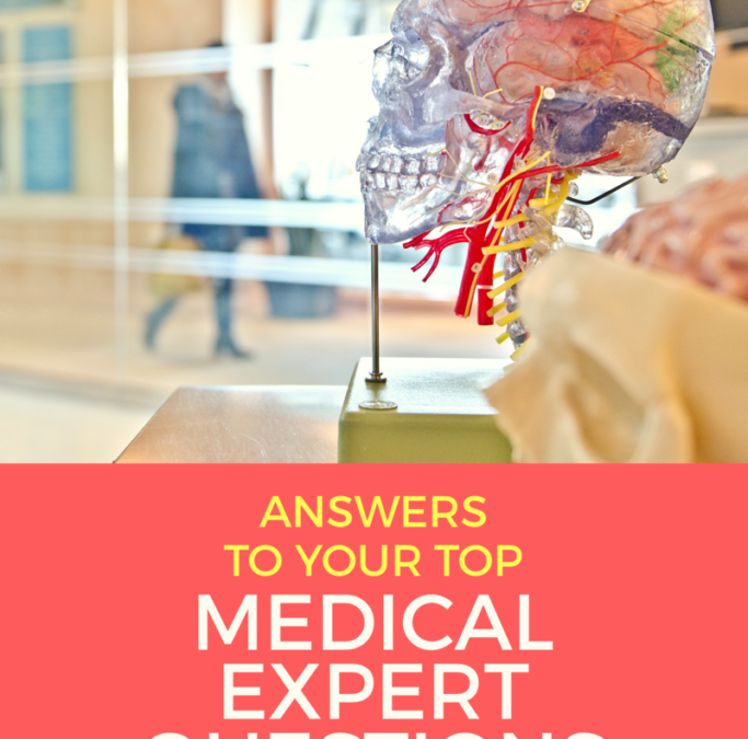 """Photo of Model of skull with white text and red background """"Answers to your top MEDICAL EXPERT QUESTIONS, MEDLAWCONSULTING.com"""""""
