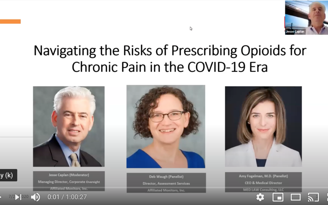 "Title: ""Navigating the Risks of Prescribing Opioids for Chronic Pain in the COVID-19 Era"" over photos of three participants: Jesse Caplan (Moderator), Deb Waugh (Panelist), and Amy Fogelman, MD (Panelist)."